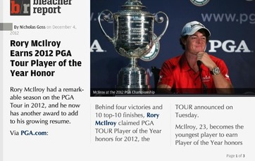 Rory McIlroy Earns 2012 PGA Tour Player of the Year Honor